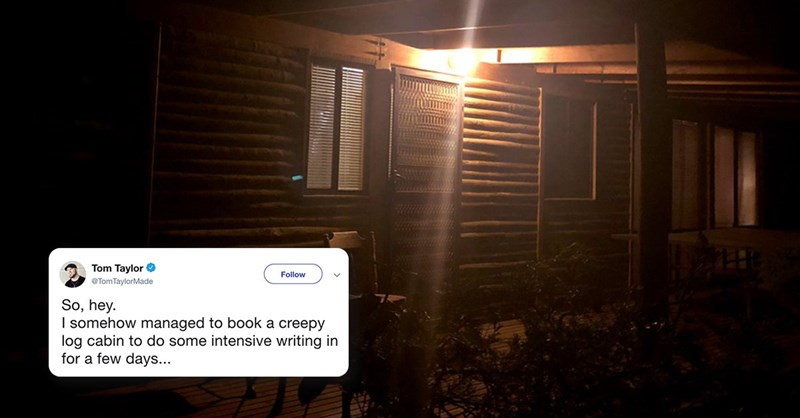 man rented a creepy cabin in the woods and tweeted everything