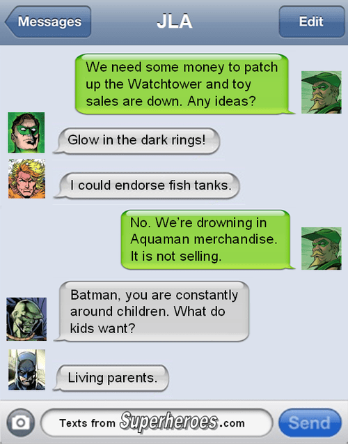 the goddamn batman,crazy things parents say,justice league