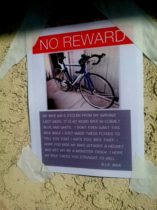 Bike Thieves,bicycles,reward sign,bikes