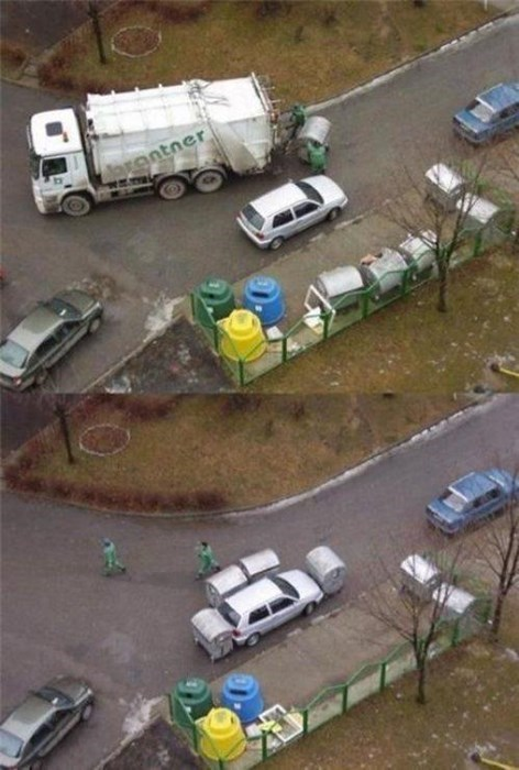 garbage trucks dumpsters parking like a douche parking - 8090660352