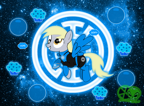 Fan Art,derpy hooves,blue lantern