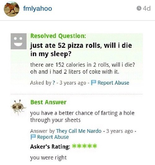 yahoo answers,yahoo,pizza rolls