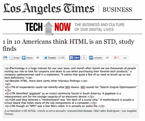 HTML,la times,STD,technology