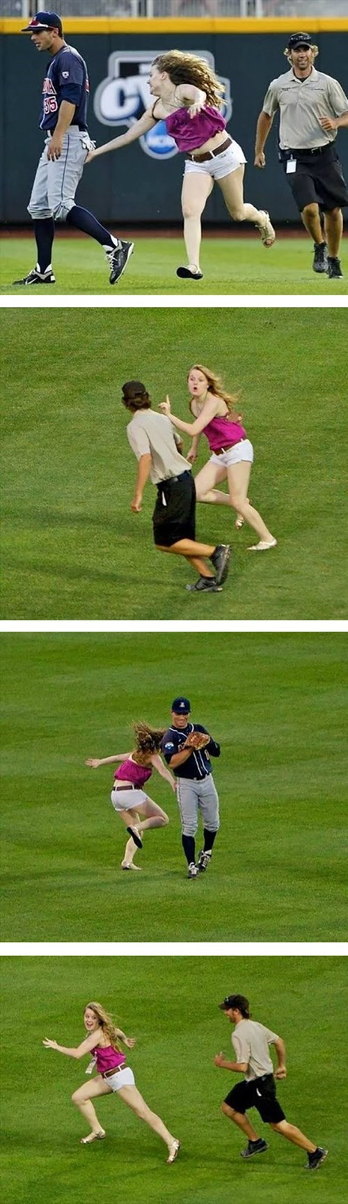 baseball,fans,streakers,she touched the butt