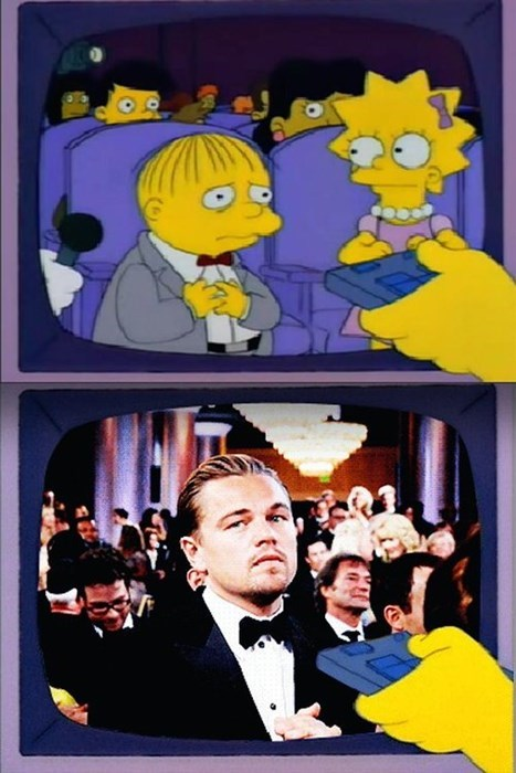 leonardo dicaprio,strange,the simpsons,oscars