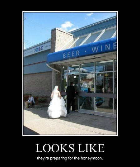 honeymoon,wedding,funny,liquor store