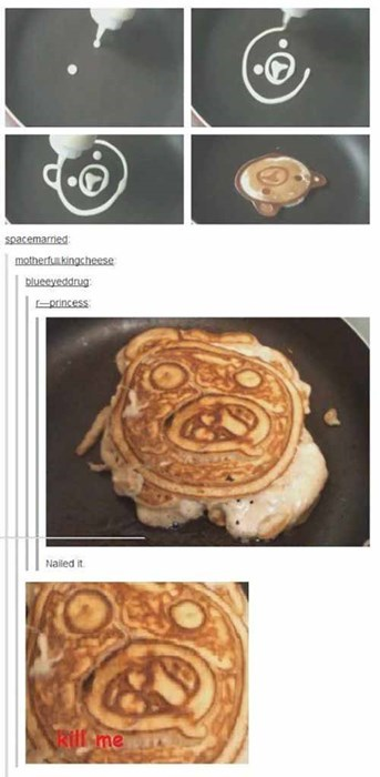 NAILED IT pancake art of making pedobear but getting w u no