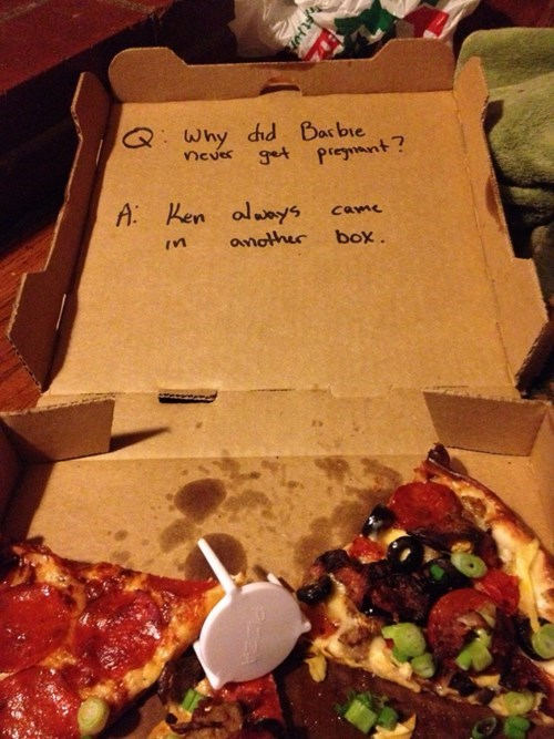 pizza jokes,pizza,Barbie,pizza box jokes