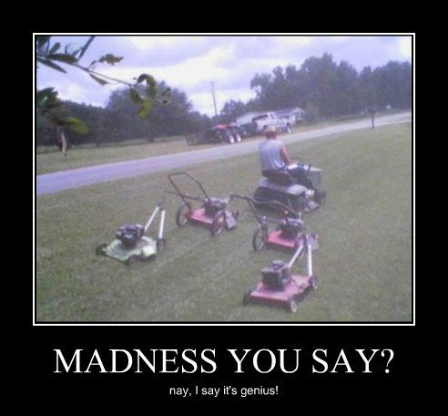 wtf lawnmower genius funny - 8094741504
