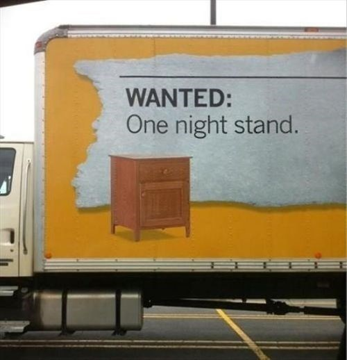 puns,ads,funny,one night stand