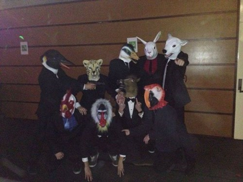 poorly dressed,mask,suit,animals