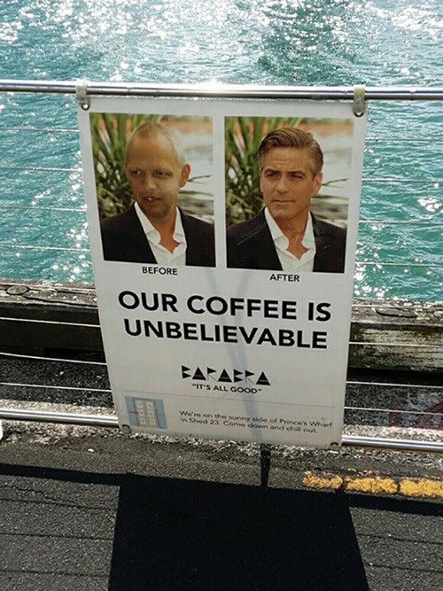 george clooney,photoshop,coffee