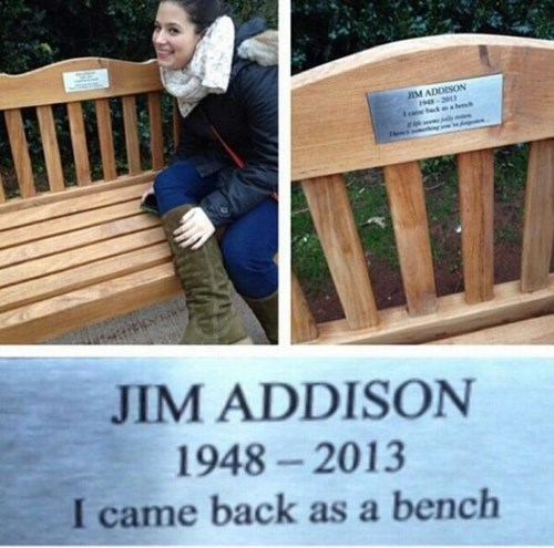 benches,jim addison,reincarnation