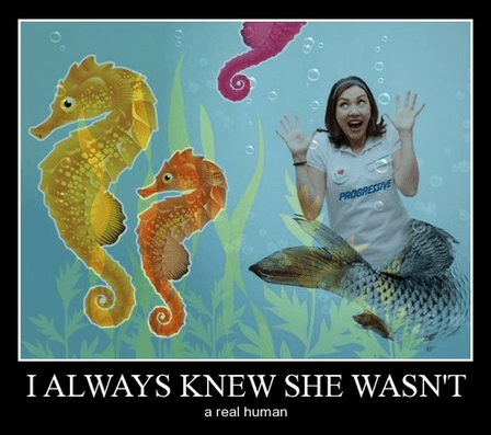 funny,wtf,mermaid,flo,progressive