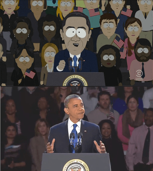 barack obama cartoons South Park