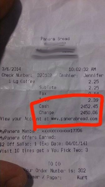monday thru friday work cashier fast food receipt