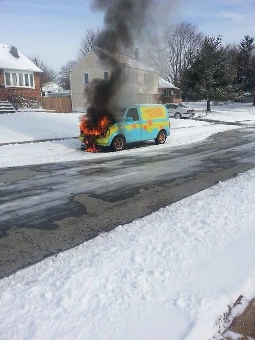 fire,scooby doo,van