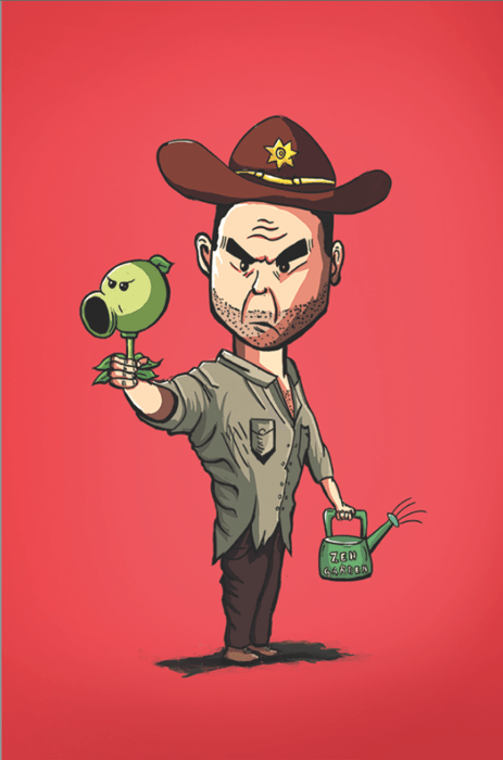 Fan Art,Rick Grimes,plants vs zombies,farmer rick