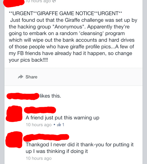 anonymous facebook definitely not fake at all giraffes - 8096844032