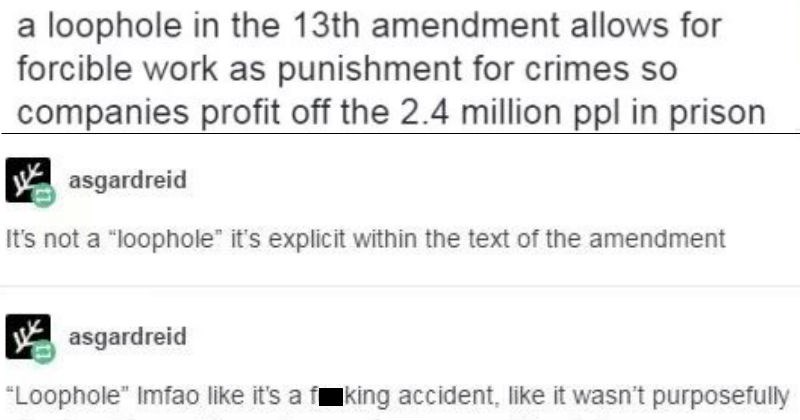 tumblr thread about forced labor