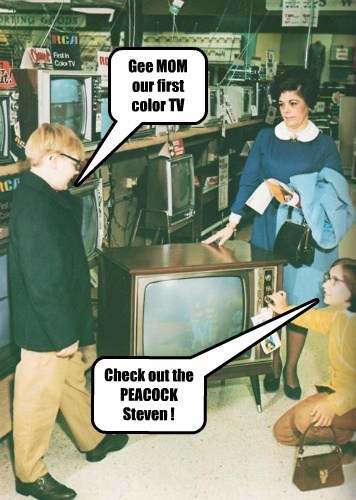 Gee MOM our first color TV Check out the PEACOCK Steven !