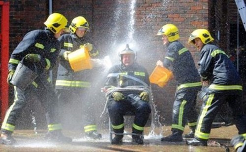 monday thru friday,firefighters,water,work,prank