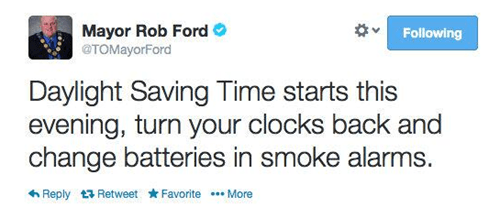 twitter daylight savings rob ford tweet - 8101182720