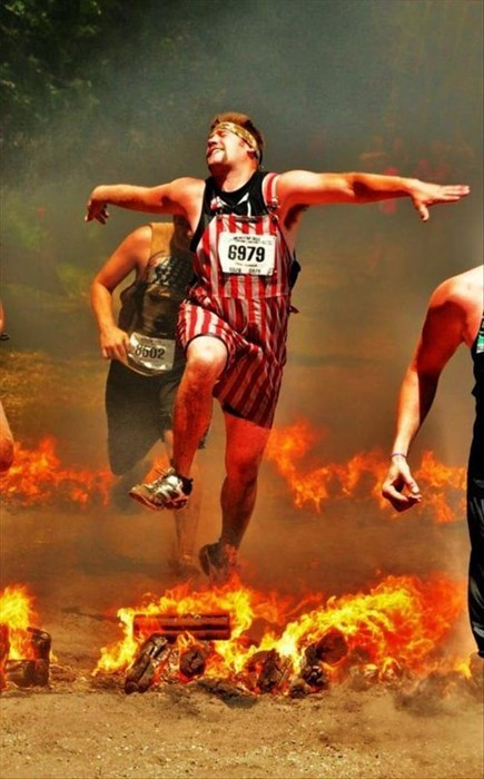 American Flag fire patriotic jumping overalls poorly dressed stripes