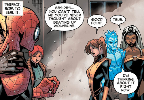 kitty pryde,iceman,Straight off the Page,Spider-Man,wolverine