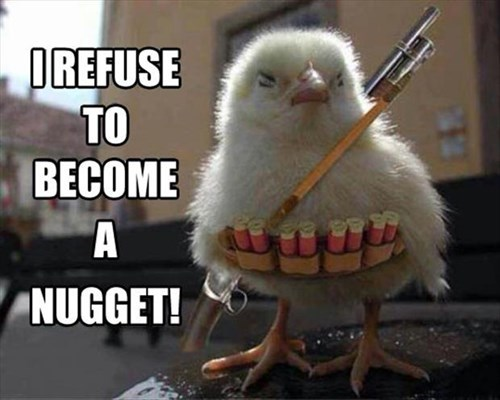 chicks,funny,weapons,chicken nuggets