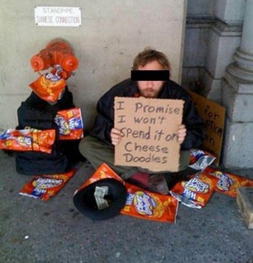 cheese doodles snacks food homeless man