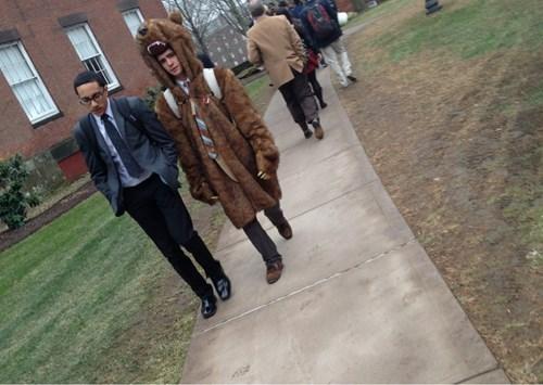 bear coat school uniform funny - 8102392832
