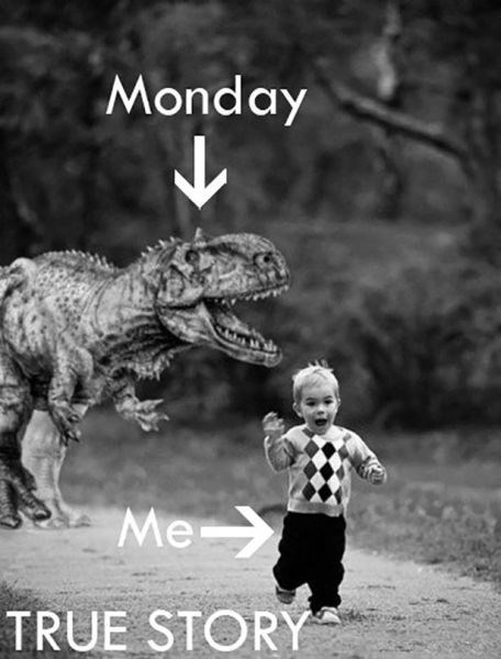 monday thru friday,work,mondays,dinosaurs,g rated