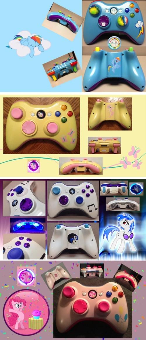 controller,custom,pinkie pie,vinyl scratch,xbox 360,fluttershy,rainbow dash