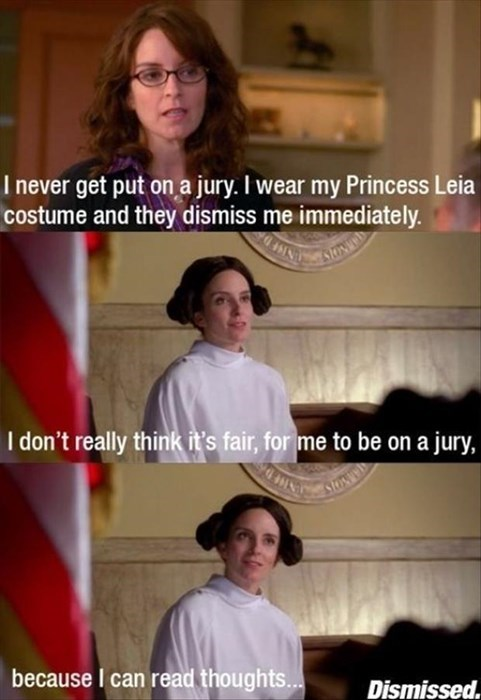 crazy,30 rock,jury duty,Princess Leia