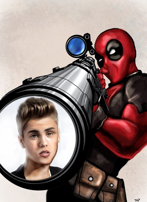 justin beiber,Fan Art,deadpool