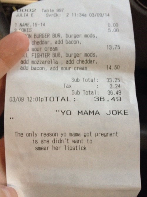 monday thru friday jokes work yo mama receipt - 8104111872
