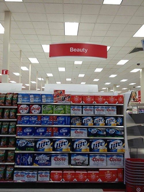 beauty products,beer,beauty