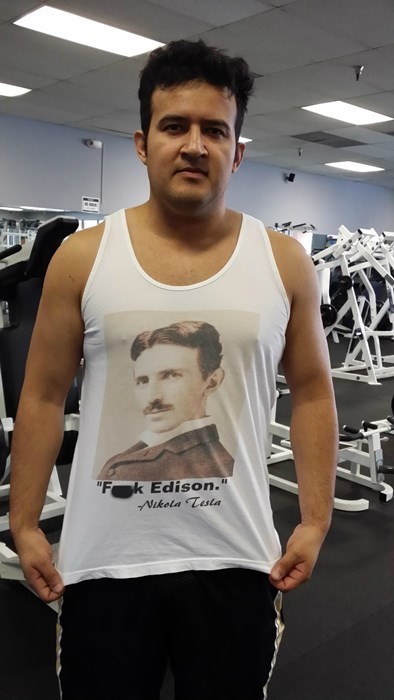 gym,poorly dressed,thomas edison,Nikola Tesla