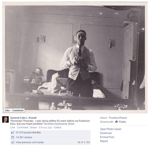 selfie,colin powell,facebook,ellen degeneres,politics