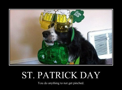 ST. PATRICK DAY You do anything to not get pinched.