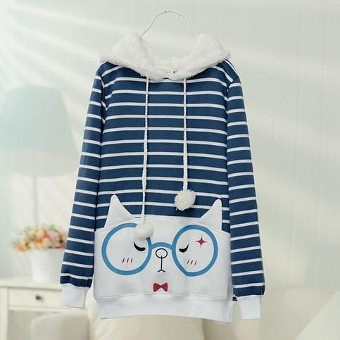 poorly dressed hoodie Cats - 8106246144