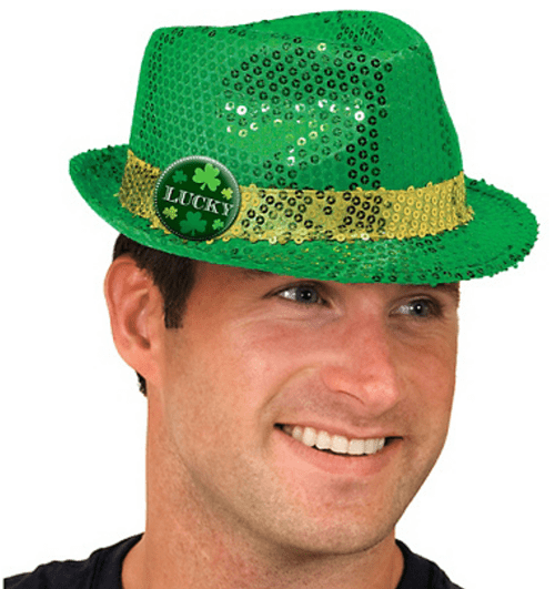 poorly dressed,St Patrick's Day,Sequins,fedora