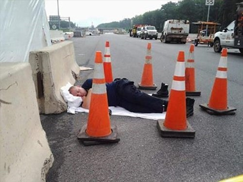 monday thru friday,traffic cone,nap,work