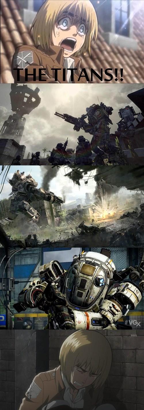 titanfall anime attack on titan video games