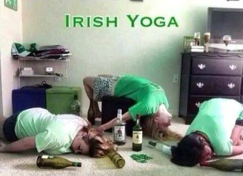 alcohol,drunk,St Patrick's Day,irish yoga