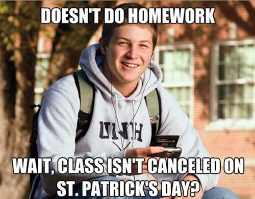 college freshman,college,St Patrick's Day,school