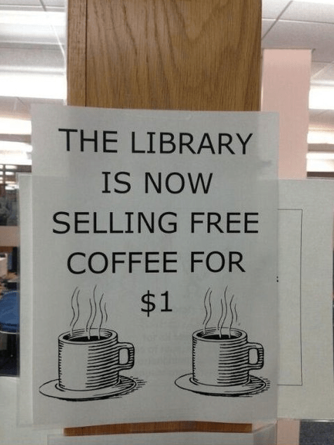 libraries,coffee,free coffee