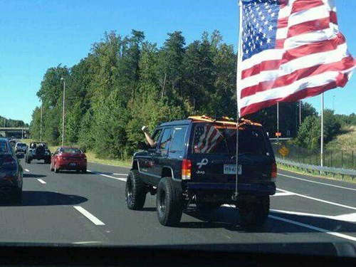 old glory,cars,flags,driving