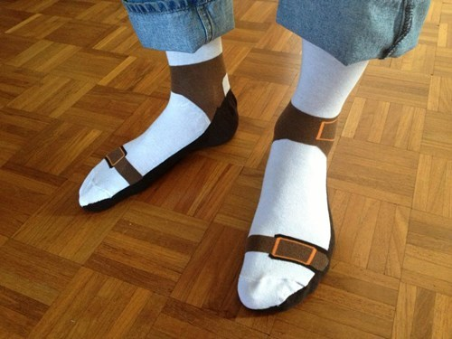 poorly dressed,socks,sandals